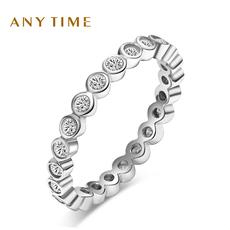 Anytime银饰品镶人工钻锆石S925女士戒指戒子女士礼物刻字3122