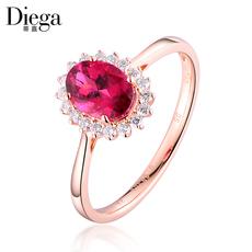 蒂嘉珠宝 0.8克拉鸽血红碧玺戒指 18K金镶钻彩色宝石戒指 彩宝