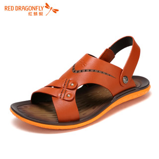Red Dragonfly new genuine leather men Sandals 2015 summer casual breathable non-slip dual Sandals men's shoes