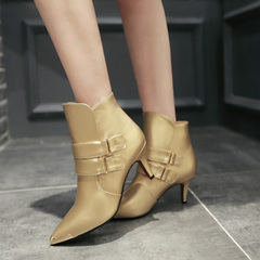 Temperament banquet 2015 fall/winter designer shoes with high heels boots belt buckle pointy booties dating stiletto ankle boots