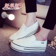 -Fall 2015 sneakers female Korean students lazy a pedal shoe low Le Fu, thick-soled platform shoes and leisure shoes