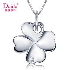 爱度钻石Doido 四叶草铂金钻石吊坠 白金18K单钻吊坠女款专柜正品