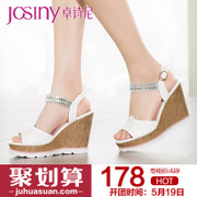 Zhuo Shini 2015 summer styles women's shoes in Europe and open-toe super high heel rhinestone platform sandal 152238060