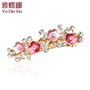 Ya na rhinestone Barrettes Korea Crystal tiara hair accessories hairpin clip female cross clamp Q0170