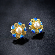 Thai ladies earrings 925 silver plated natural freshwater pearl earrings Korean temperament cloisonne earrings