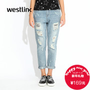 Westlink/West fall 2015 new drawing holes washed loose cotton beggar women's denim pants