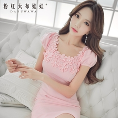 Dress pink dolls in late 2015 women's autumn new slim sexy bubble sleeves dress