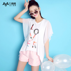   the seven OTHERMIX letters printed trumpet sleeves loose crew neck long white chiffon shirt