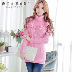 Fall/winter sweater women pink doll 2015 long Korean wave insert stereo flowers Turtleneck pullover