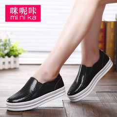 Microphone clicking fall 2015 the Korean version of Lok Fu round head shoe female thick-soled feet lazy men shoes, elevated shoes and leisure shoes