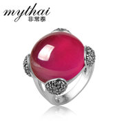 Thai Red corundum ring 925 Silver Thai fashion female ring manual exaggerated birthday gifts