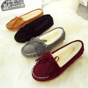 Korean version of the 2015 winter season new padded plush bean shoes tide head warm with flat shoes casual women shoes