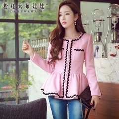 Wool coat women pink doll 2015 winter small fields breathe sweet slim slimming short wool coat