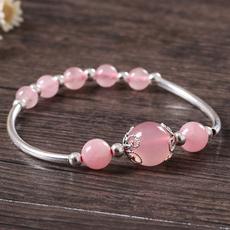 贝茜粉晶手链单圈女款水晶手链饰品甜美可爱银饰糖果粉色手链