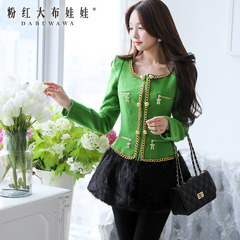 Wool coat women pink doll set winter green black gold chain, long wool coat
