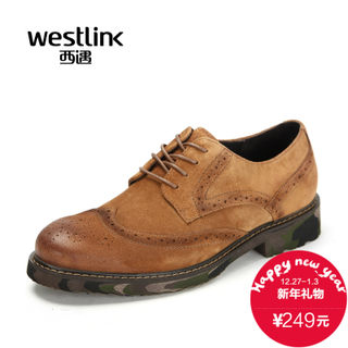 Westlink/West fall 2015 new wipe cloth Baroque leather belt Camo men's casual shoes