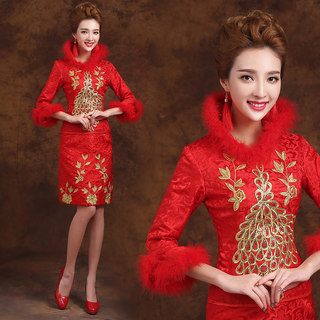 2015 toasting bride dress suits fall/winter padded long sleeve wedding dress fashion red improved MIDI