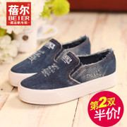 Becky-fall 2015 the new Korean version of the thick end of lazy Lok Fu shoes shoes shoes canvas shoes women's shoes at the end of platform shoes