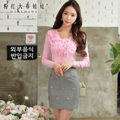 Pink Cardigan Sweater doll 2015 new ladies inlay solid flower slim long sleeve knit shirt