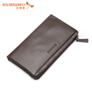 Red Dragonfly men's handbags men's leather men bag business cow leather clutch bag clutch multifunction wallets