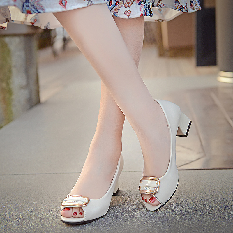 2017中跟单鞋女春夏鱼嘴女鞋子粗跟方扣职业工作凉鞋低跟百搭韩版