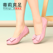 2015 spring new casual fashion shoes leather women's shoes bow head pregnant women Tilly cool foot
