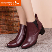 Red Dragonfly winter new genuine full leather women boots casual fashion commuter coarse boots with high heels shoes