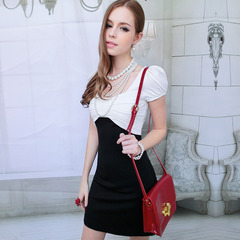 Big Pink dolls 2015 summer new style black and white bow that spell a pendulum bubble short sleeve dresses