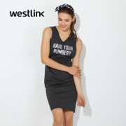 Westlink/West long letters in the spring of 2016 new sleeveless v-neck dresses with zipper back slit