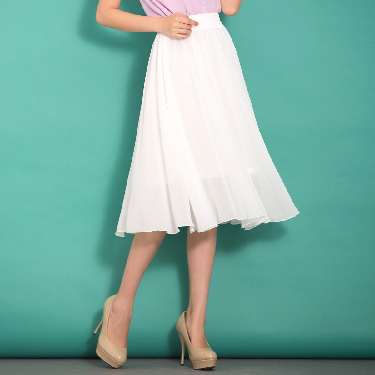 中长款半身裙女夏百搭新款裙子女夏纯色半裙a型雪纺裙大摆a字裙夏