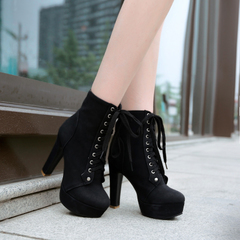 2015 winter new style sexy stiletto boots front lace matte nude boots short boots and high heel boots, women's boots