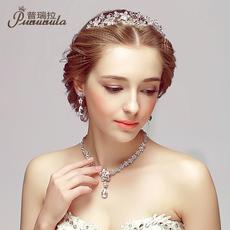 普瑞拉新款韩版新娘皇冠饰品结婚首饰婚纱礼服配饰三件套装发头饰
