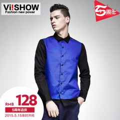 Viishow2015 spring for the new shirt men's long sleeve contrast color stitching slim British cotton shirt