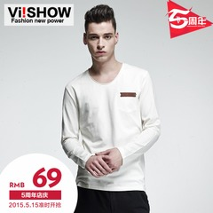 Spring men's long sleeve t-shirt viishow2015 men's minimalist style v neck wave fashion for men