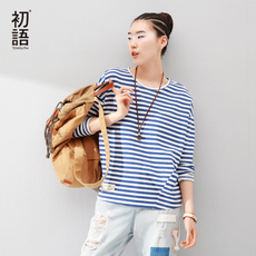 初语2016秋装新款百搭条纹长袖T恤女宽松蝙蝠袖拼接品牌女装体恤