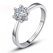 Full of accessories your simulated diamond ring 925 silver plated Platinum six prong engagement ring girl live ring free engraving gift