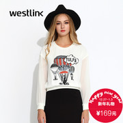 Westlink/West fall 2015 the new hot-air balloons printed chiffon sleeve stitching women's Turtleneck Sweater