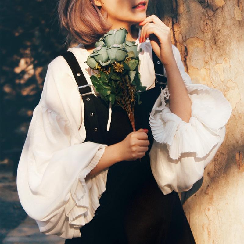 MissEgg早春新款复古维多利亚宫廷灯笼袖长袖森女白衬衫宽松系带