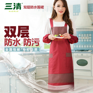 Sanqing apron kitchen waterproof apron Korean fashion coverall waist kitchen apron sleeves can be customized