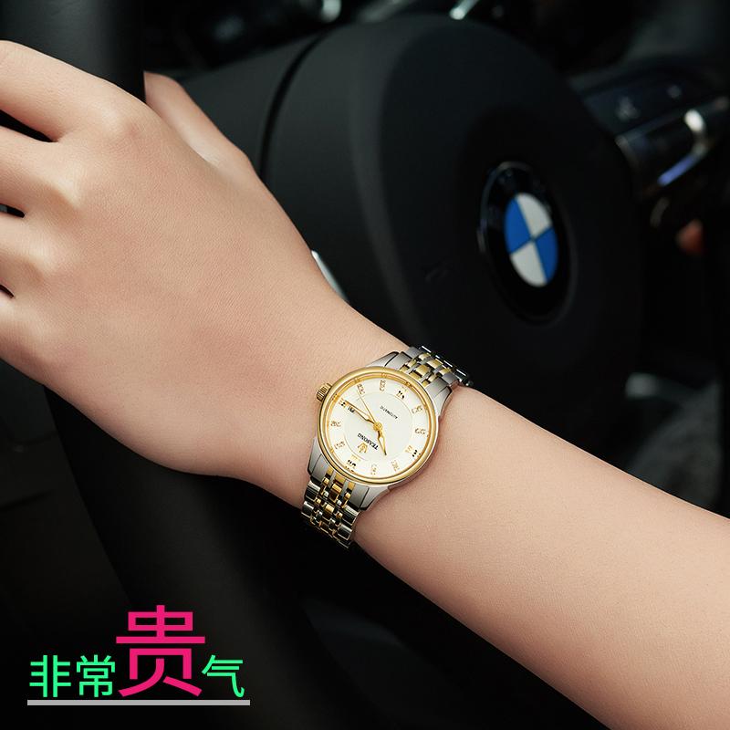天硕手表女正品防水机械表全自动女士时尚新款情侣表一对好看腕表