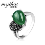 Green Thai agate Korean fashion ladies 925 Silver ring heart shaped Thai silver ring