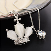 Fall/winter love sweater chain long Necklace Double Crown Korea wild fashion sweater hanging ornaments package mail