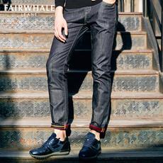 马克华菲牛仔裤  春装新男式修身纯棉水洗经典款修身小脚长裤