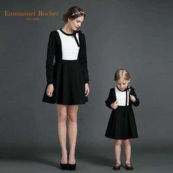 高端定制 女童2016春装新款长袖蕾丝百搭打底衫母女装亲子连衣裙