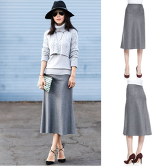 Theoly original custom fall/winter wool skirt 14 long a-cut light grey