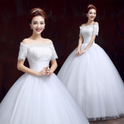 Wedding dresses spring summer new 2015 Korean fashion one shoulder floor-length sleeveless wedding dresses plus size slimming drill
