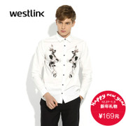 2015 New West European and American minimalist retro Portrait prints of Notre Dame men's white long sleeve cotton casual shirt