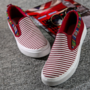 2015 summer stripe flat low a pedal a couple lazy shoes canvas shoes for men and women surge clearance specials email
