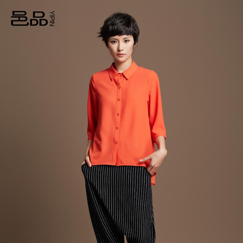 春夏新款修身欧美风休闲时尚短款衬衫七分袖拼接衬衣上衣