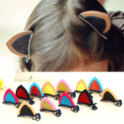 Know Richie children''s hair accessories Korean cute shiny solid cat ear hair clips baby side clips girls jewelry